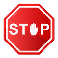 Stop sign vector illustration of red witk hand Stock Photography