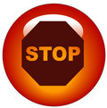 Stop sign web button or icon Royalty Free Stock Photo
