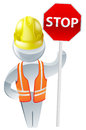 Stop sign workman wearing a yellow hard hat and high visibility jacket safety gear Royalty Free Stock Photography
