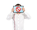 Stop smoking men holding tablet with symboll Royalty Free Stock Photos