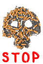 Stop smoking silhouette skull of butts and ashes on a white background Stock Photos