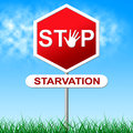 Stop starvation means lack of food and control indicating warning sign Stock Photos