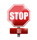 Stop take a break road sign illustration design over white background Stock Image