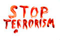 Stop Terrorism bloody words Royalty Free Stock Photo