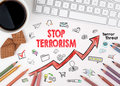 Stop terrorism Concept. Computer keyboard and cup of coffee on a white table