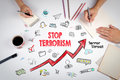 Stop terrorism Concept. The meeting at the white office table