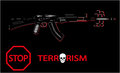 Stop terrorism vector banner on a black background Royalty Free Stock Photos