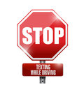 Stop texting while driving road sign illustration design over a white background Royalty Free Stock Photography