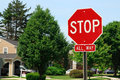 Stop Traffic Sign  On Country Road Royalty Free Stock Photo