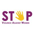 Stop violence against women isolated on white Royalty Free Stock Photo