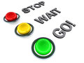 Stop wait go signs in red yellow green white background traffic light concept Stock Photos