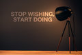 Stop wishing, start doing motivational quote Royalty Free Stock Photo