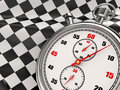 Stopwatch with checkered flag. Start or finish. Stock Image