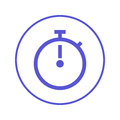 Stopwatch chronometer circular line icon. Round sign. Flat style vector symbol.
