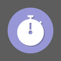 Stopwatch chronometer flat icon. Round colorful button, circular vector sign with shadow effect. Flat style design.