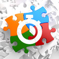 Stopwatch icon on multicolor puzzle time concept Stock Image