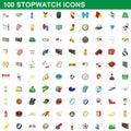100 stopwatch icons set, cartoon style