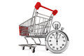 Stopwatch with Shopping Cart Royalty Free Stock Photos
