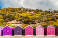 Storage beach huts colorful lined on seaside Royalty Free Stock Photos