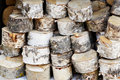 Storage birch logs Royalty Free Stock Photo