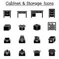 Storage, Cabinet, Drawer icons Royalty Free Stock Photo