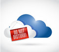 Storage cloud with a do not disturb hanging sign illustration design over white Royalty Free Stock Photography