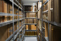 Storage archive depostiory room with folders Royalty Free Stock Photo