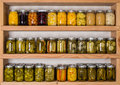 Storage shelves with canned food in pantry homemade preserved fruits and vegetables Stock Images