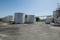 Storage tank and building Royalty Free Stock Photo