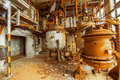 Storage tank in rusty colors industrial interior with Royalty Free Stock Image