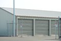 Storage unit facility with security fence Stock Image