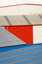 Storage warehouse building facades lines of Stock Photo