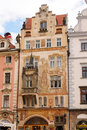Storch publishing house prague czech republic july x s with figural paintings in art nouveau style on the facade dominated by st Stock Photography