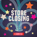 Store closing vector illustration, background with firework and decorative elements