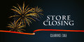 Store closing vector illustration, background with firework