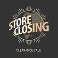 Store closing vector illustration, background with golden sign