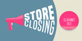 Store closing vector illustration, background with megaphone Royalty Free Stock Photo