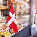 Store facade with a danish flag Royalty Free Stock Photo