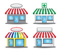 Store front with colored awnings and banners Royalty Free Stock Photography