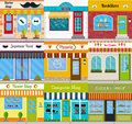 Store fronts and building facades set.