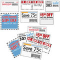 Store sale coupons for savings ads Stock Photo