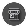 Store vector icon. Shop build illustration on black round backgr