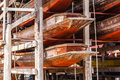 Stored hulls many thai wooden on a wooden scaffolding Royalty Free Stock Images