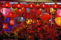 Storefront Display of Chinese New Year Lanterns Royalty Free Stock Photos