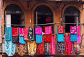 Storefront of old nepal textile shop Royalty Free Stock Photo