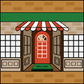 Storefront with welcome mat awning and banner for your input small business internet Stock Photos