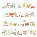 Stores and houses on a street Royalty Free Stock Photo