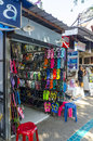 Stores and shops of beachwear and souvenirs in the thai resort town Royalty Free Stock Image