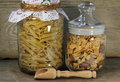 Storing food in glass jars close up Royalty Free Stock Image
