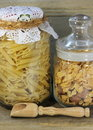 Storing food in glass jars close up Royalty Free Stock Photos